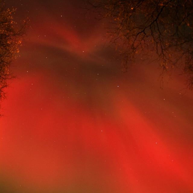 """aurora corona over aboyne"" stock image"