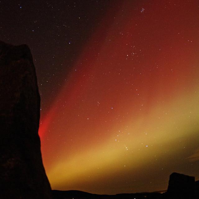 """aurora rays & orion"" stock image"