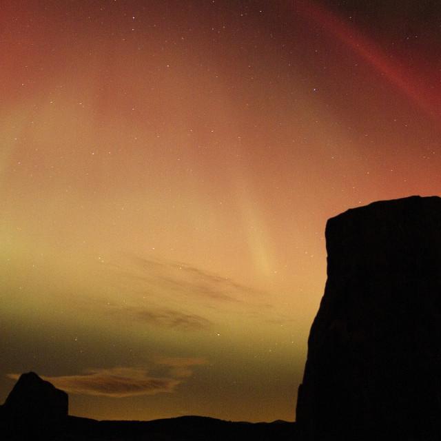 """aurora corona over stone circle"" stock image"
