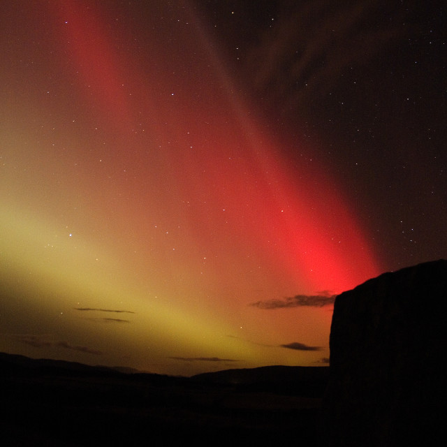 """aurora corona rays & stone circle"" stock image"