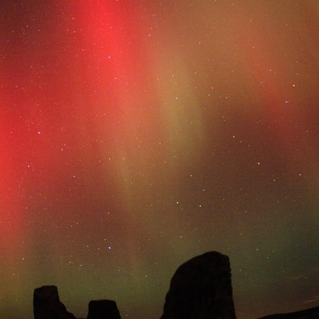 """aurora rays & stone circle"" stock image"
