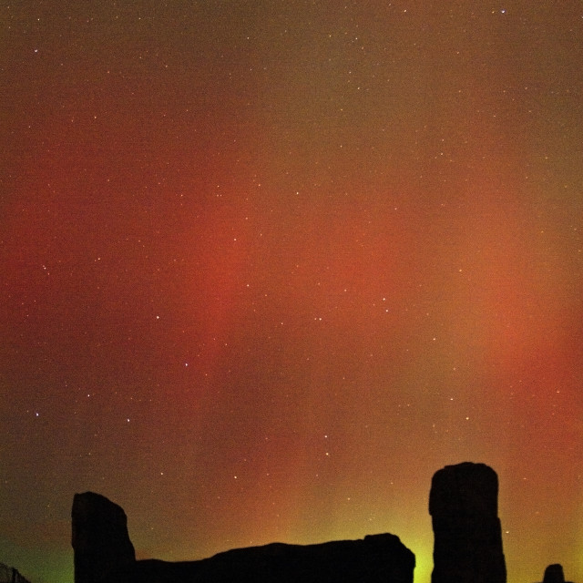 """""""aurora borealis & stone circle"""" stock image"""