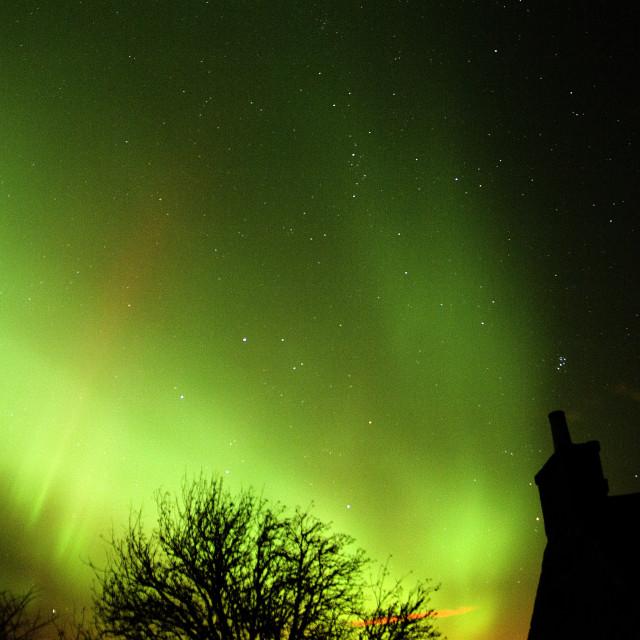 """""""aurora borealis & pleiades stars"""" stock image"""