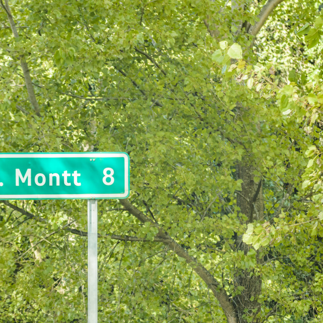 """""""Puerto Montt Sign at Road"""" stock image"""