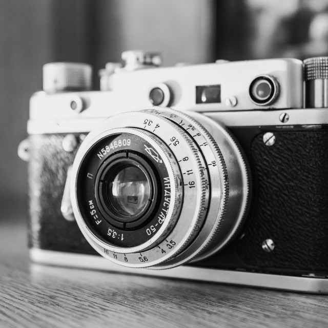 """Russian Soviet Vintage Camera ""Zorkiy 2-S"". Zorki 2-S is small-format..."" stock image"