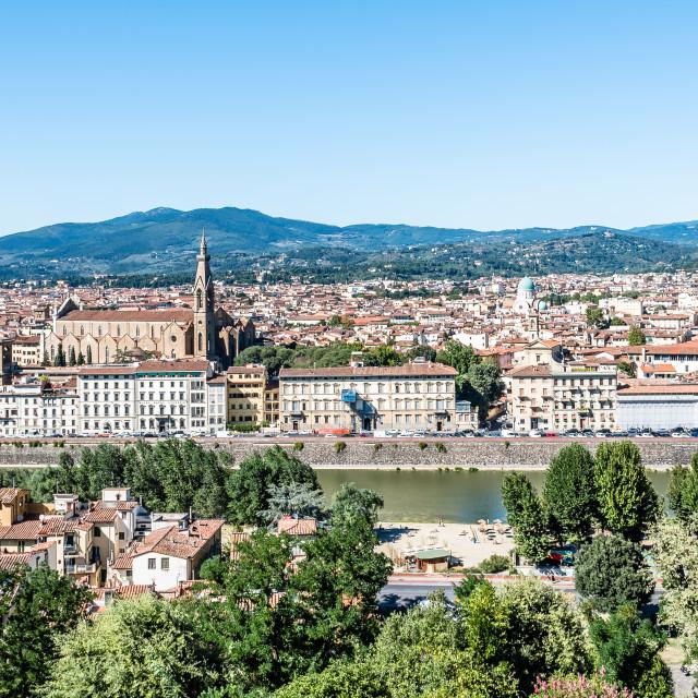 """Florence cityscape a blue sky day"" stock image"