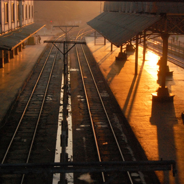 """Dawn at Yangon Railway station"" stock image"