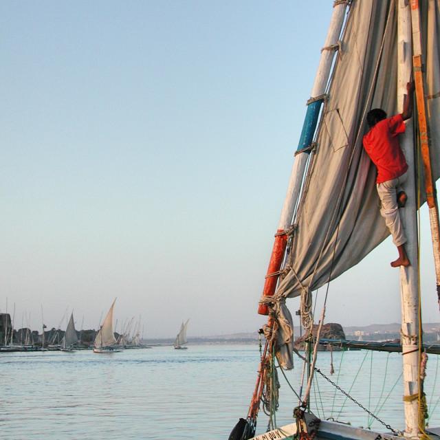 """Felucca sailor"" stock image"