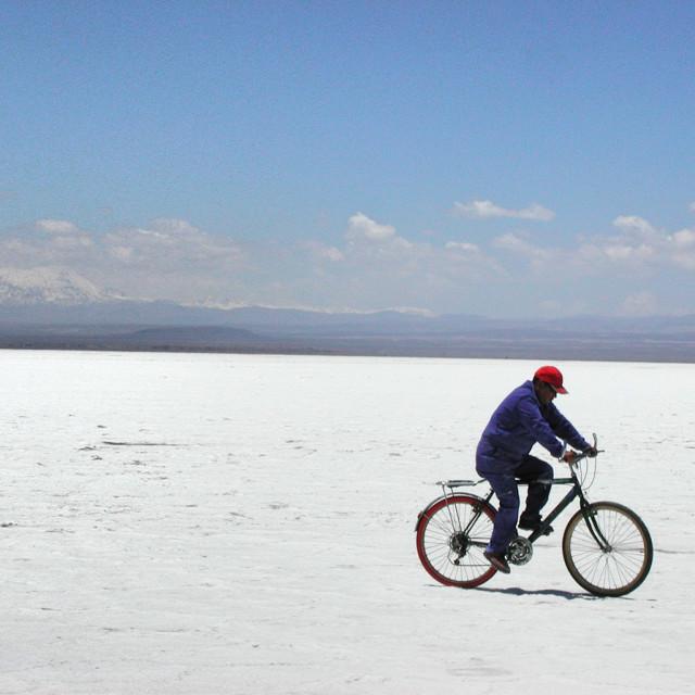 """Salt flat cyclist"" stock image"