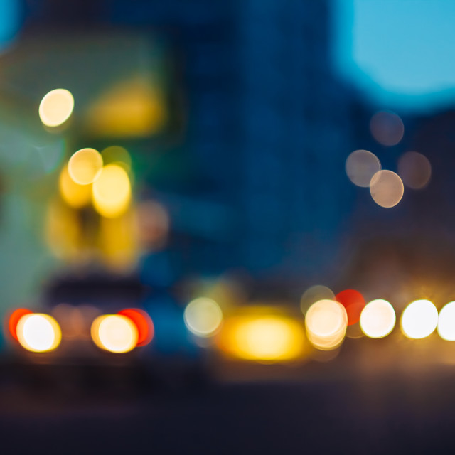 """""""Night Street Lights Out Of Focus, Bokeh Background"""" stock image"""
