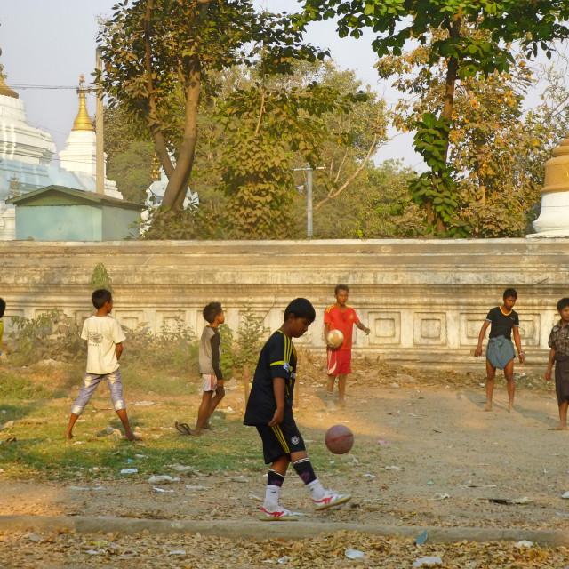 """""""Football and Stupas"""" stock image"""