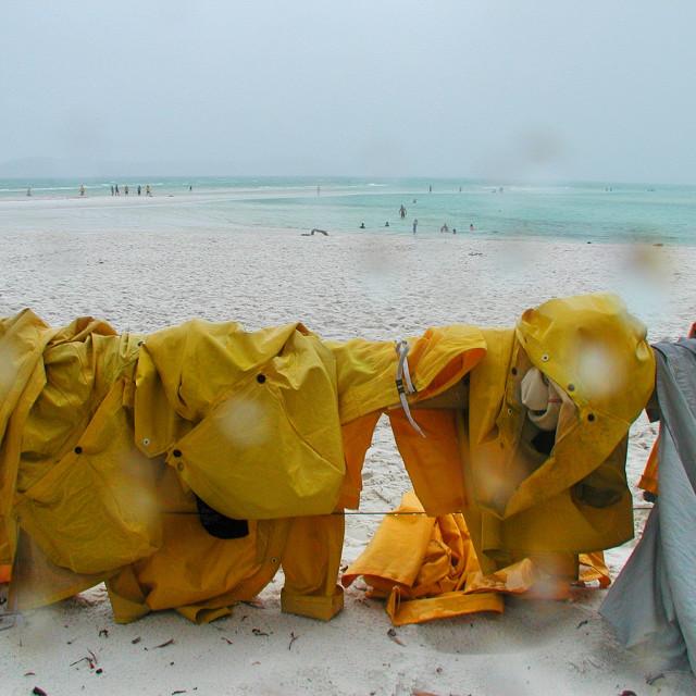 """Beach Raincoats"" stock image"