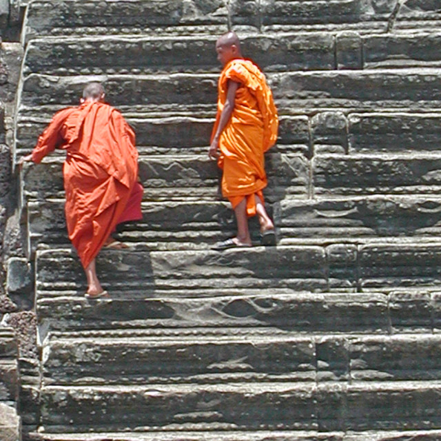 """Monks on Stairs"" stock image"