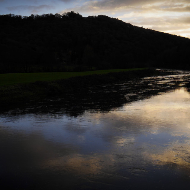 """Sunset light on the River Wye at Bigsweir"" stock image"