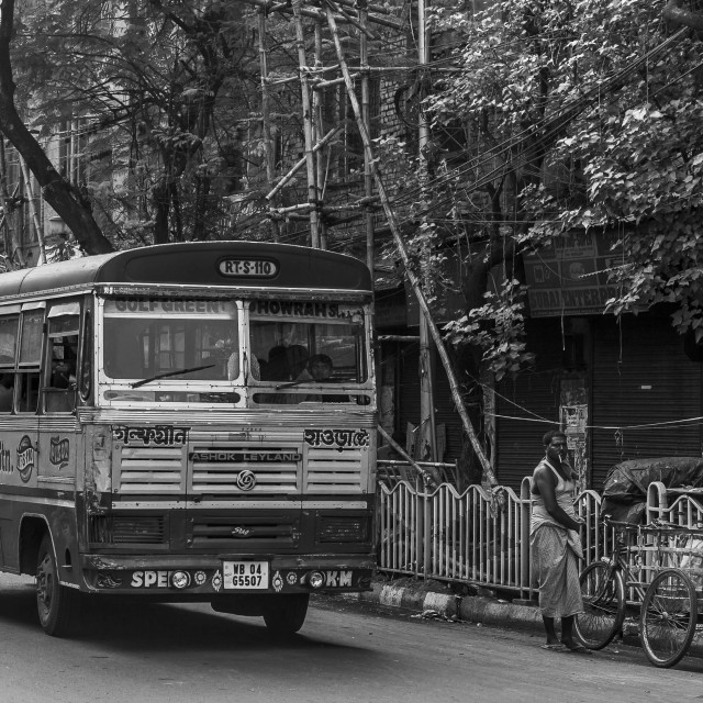 """Indian Bus, Kolkata"" stock image"