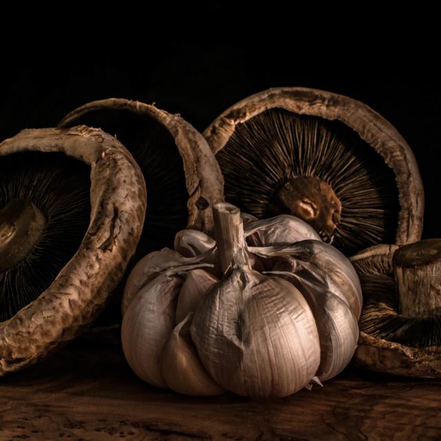 """Garlic and mushrooms"" stock image"