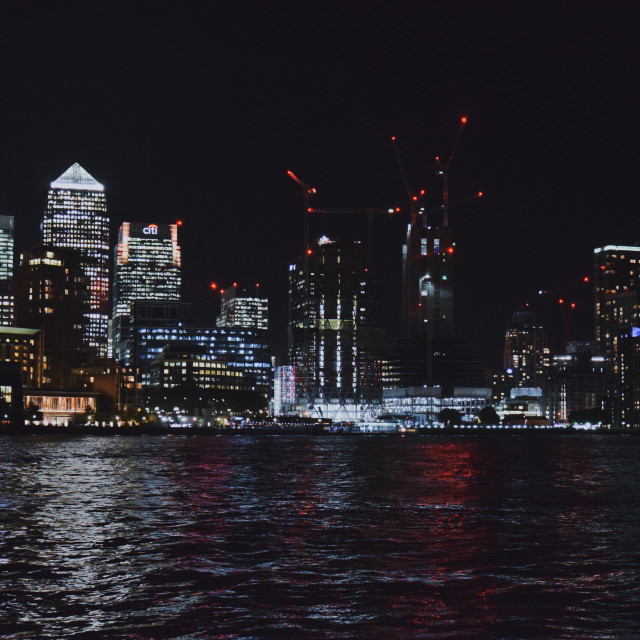 """Canary Wharf by night"" stock image"