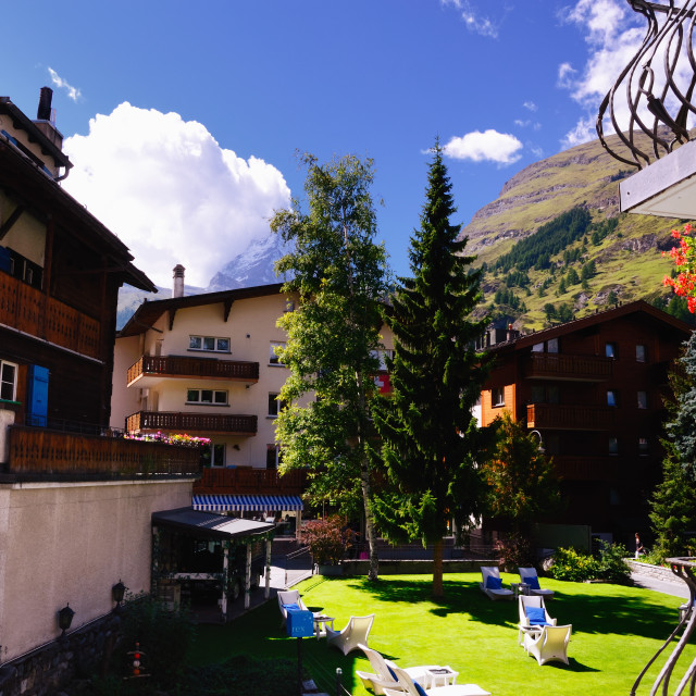 """View from a Hotel Balcony in Zermatt, Switzerland"" stock image"