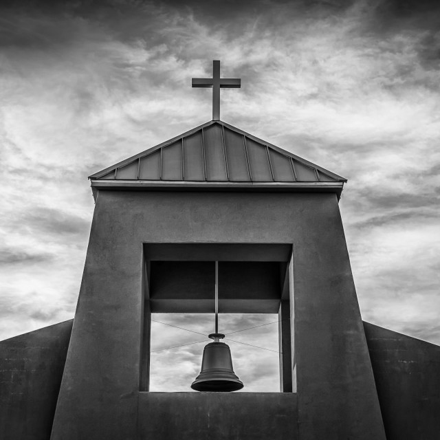 """""""Church Bell and Cross in Black and White"""" stock image"""