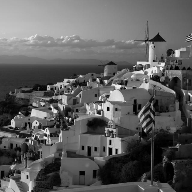 """""""Windmill in Santorini,Sunset"""" stock image"""
