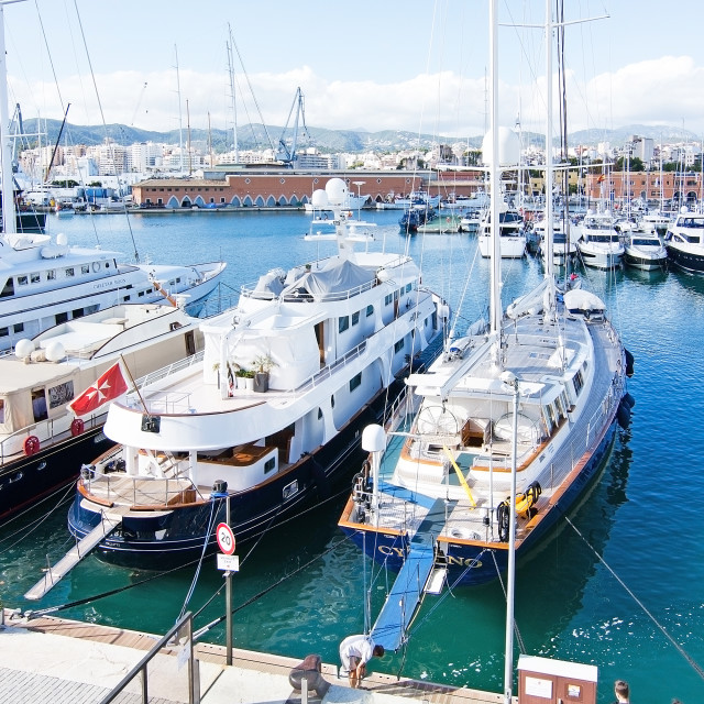 """""""Yachts moored in Palma"""" stock image"""