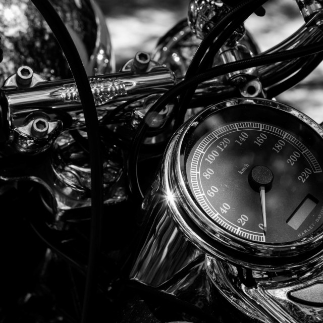 """""""Motorcycle dashboard in black and white"""" stock image"""