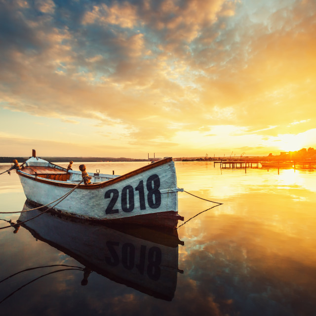 """""""Happy New Year 2018 concept, lettering on the Boat with a reflec"""" stock image"""