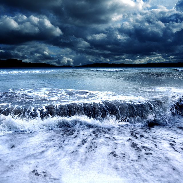 """Storm and sea.Cloudy landscape"" stock image"