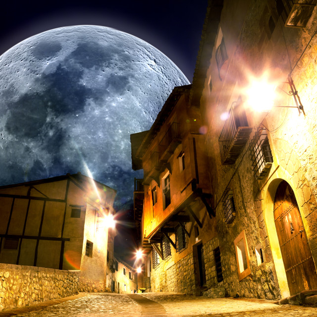 """Fancy and fantasyscenery.full moon landscape"" stock image"
