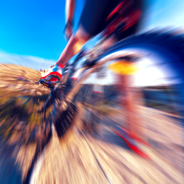 """Sport and healthy life.Mountain bike and landscape background"" stock image"