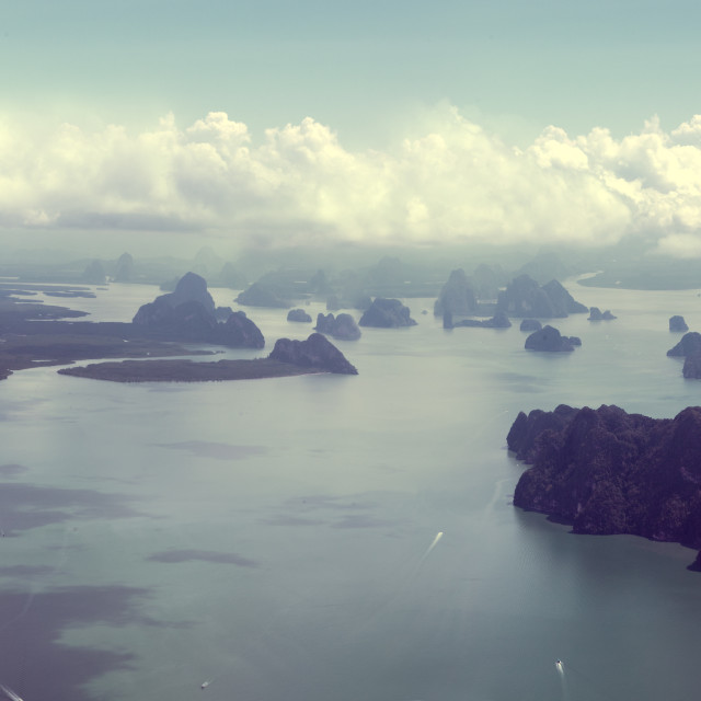 """Seascape and Thailand islands from aerial view"" stock image"