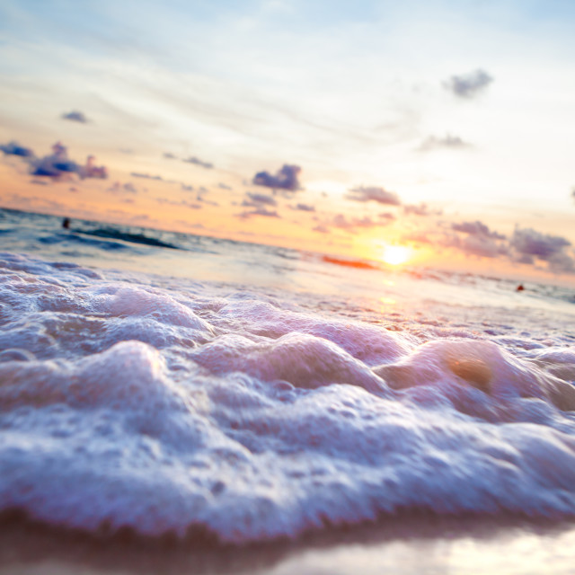 """Sunset beach.Seashore and sunlight scenic"" stock image"