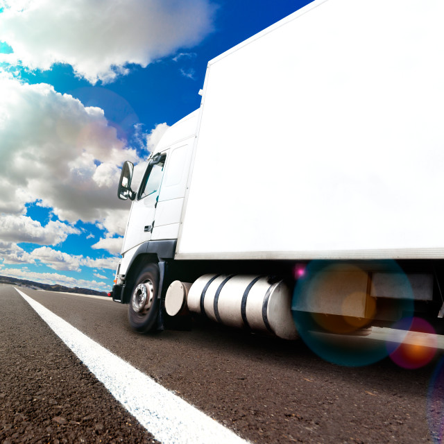 """International delivering goods trailer"" stock image"