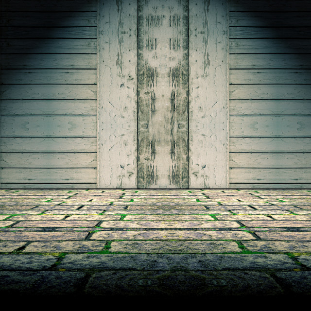 """Floor and wood door background"" stock image"