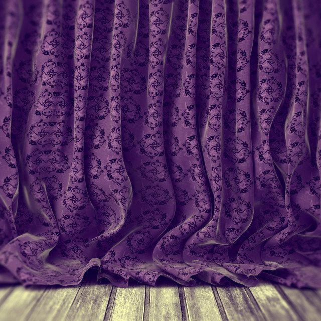 """Purple floral curtains background"" stock image"