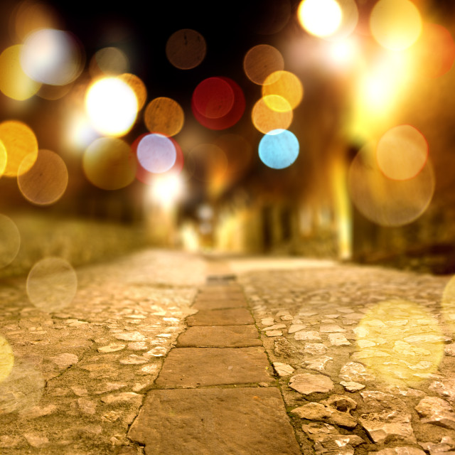 """Abstract stone floor at night scenery"" stock image"
