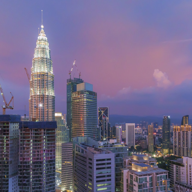 """Aerial view of sunset at Kuala Lumpur city skyline"" stock image"
