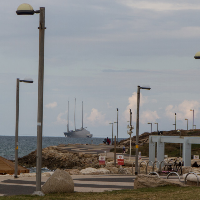 """Super Yacht A in Tel Aviv"" stock image"