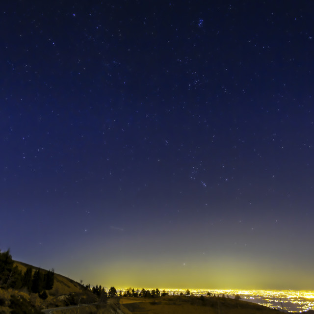 """Starry winter night sky panorama. Color image"" stock image"