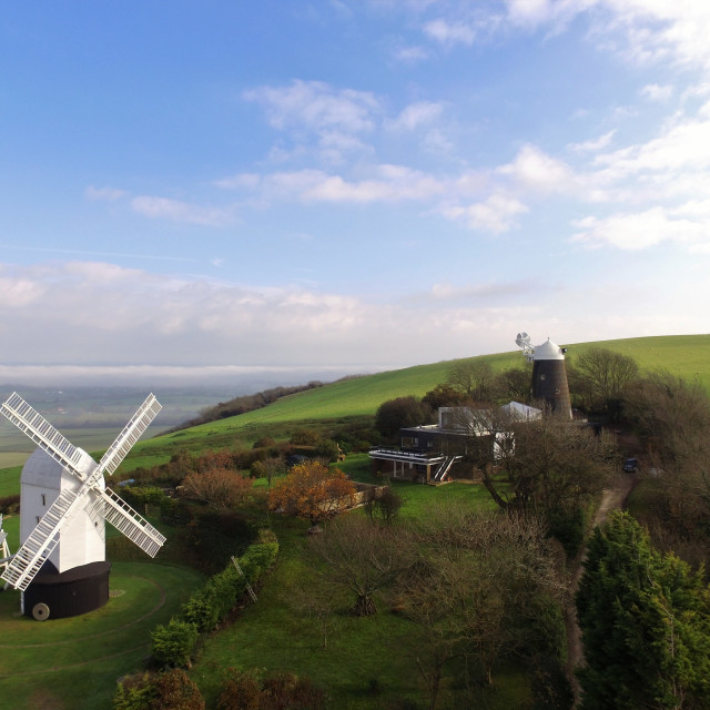 """Corn windmills on Clayton Hill, Sussex."" stock image"