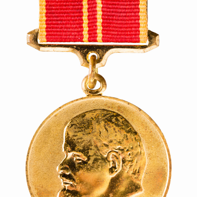 """""""Russian (Soviet) Medal """"In Commemoration Of The 100th Anniversary Of Birth Of..."""" stock image"""