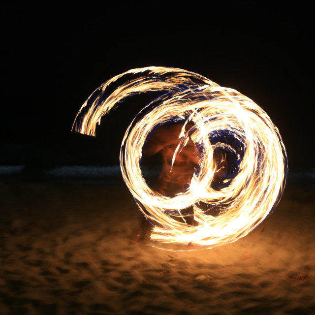"""Fire dance performance at Lombok Island Indonesia"" stock image"