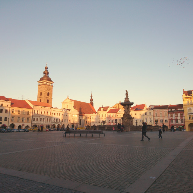 """Ceske Budejovice Main Square, before sunset"" stock image"