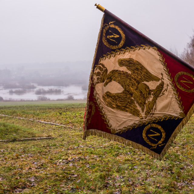"""""""The berezina river with Napoleonic flag in foreground"""" stock image"""