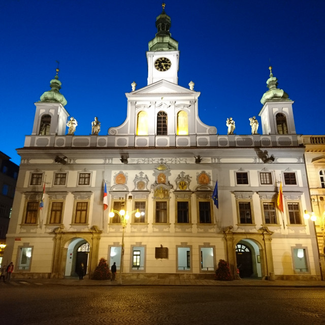 """Ceske Budejovice City Hall in the blue hour"" stock image"