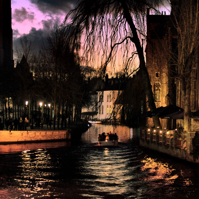 """Sunset in Bruges"" stock image"
