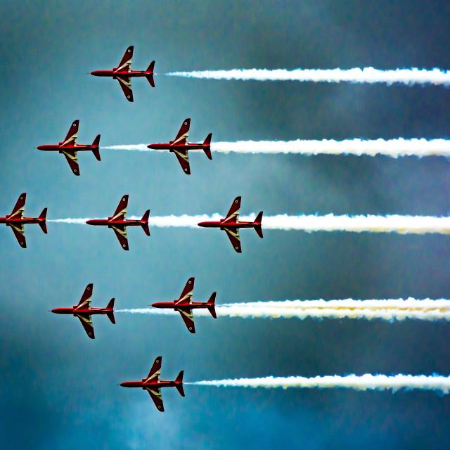 """""""Diamond Red Arrows"""" stock image"""