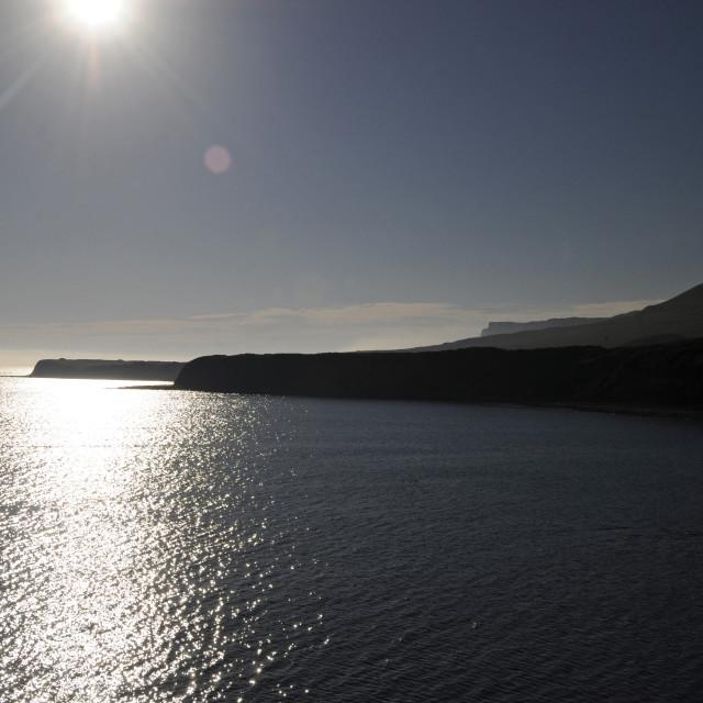 """Kimmeridge Bay at sunset Jurassic Coast Isle of Purbeck Dorset England"" stock image"