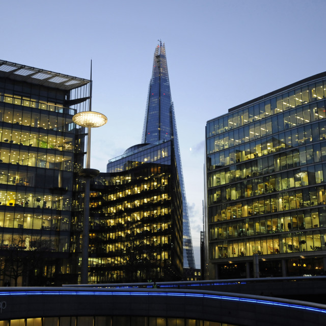 """""""Offices in More London with The Shard at dusk London England"""" stock image"""