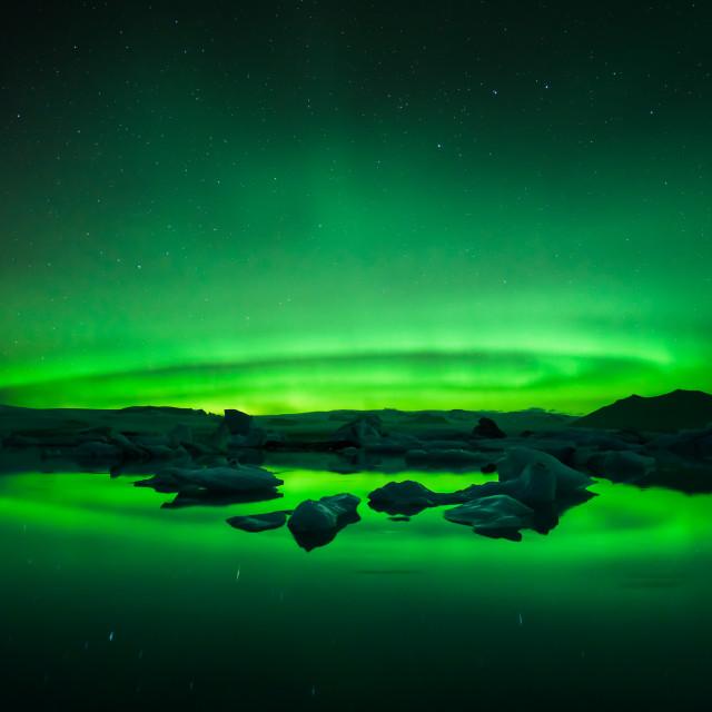 """Glacier Lagoon Aurora"" stock image"